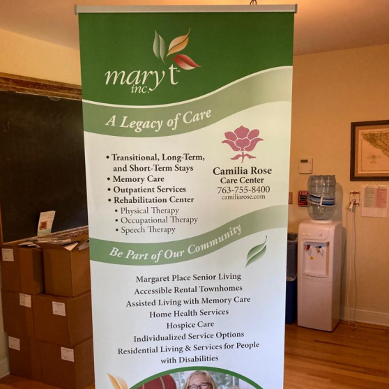 Retractable Banner<br>Mary T. Inc<br>Coon Rapids, MN