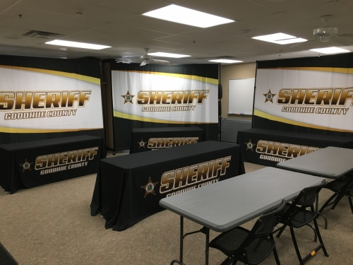 Goodhue County Sheriff banners and tablecloths