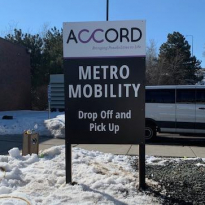 Outdoor Signage<br>Accord<br>St. Paul, MN<br>4'x6' signs with posts. Riffland Solutions goes above and beyond to take care of the project from start to finish. We tackle things other printers don't, like scheduling utilities marking.