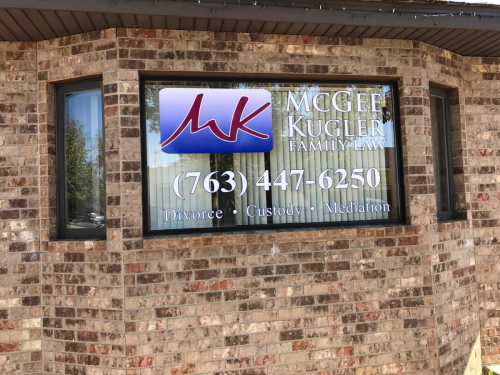 Exterior Window Signage; McGee Kugler Family Law; Osseo, MN