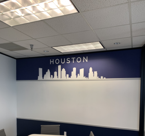 Wall Graphics; Houston skyline for Infinity Consulting Solutions, Inc. Houston, TX