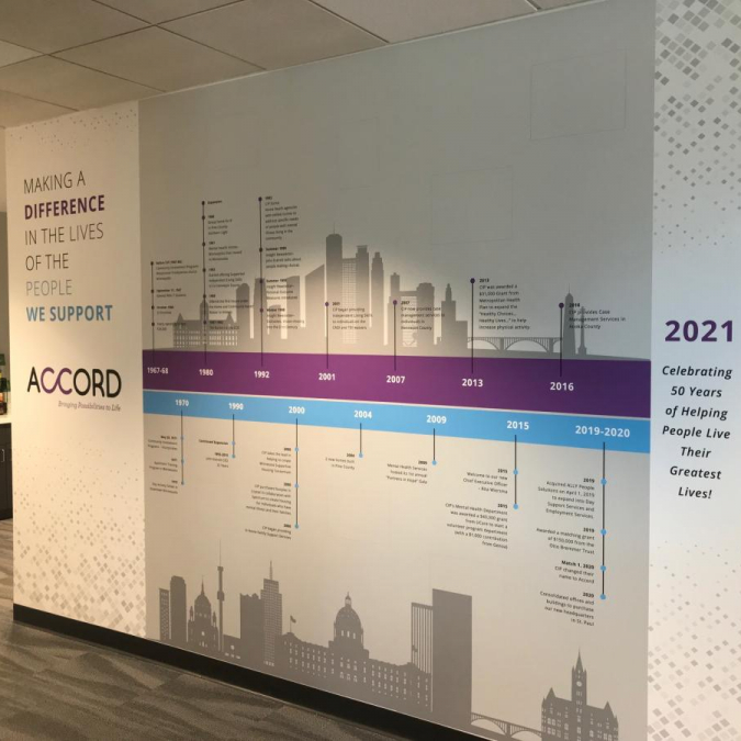 Acrylic Install: History-Time Wall <br>Accord <br>St. Paul, MN